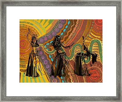 Belly Dancer Motifs And Patterns Framed Print by Corporate Art Task Force