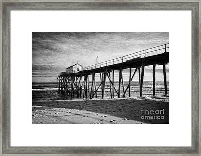 Framed Print featuring the photograph Belmar Fishing Pier In Black And White by Debra Fedchin
