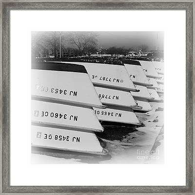 Belmar Marina Rowboats Framed Print by Paul Ward