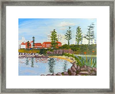 Framed Print featuring the painting Belmore Basin From The North Sea Wall by Pamela  Meredith