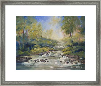 Below Amicalola Falls Painting Framed Print by Sally Simon
