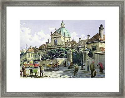 Below The Belvedere Palace In Vienna Wc On Paper Framed Print by Richard Pokorny
