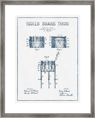 Bemis Snare Drum Patent Drawing From 1886 - Blue Ink Framed Print by Aged Pixel