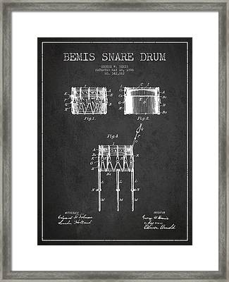 Bemis Snare Drum Patent Drawing From 1886 - Dark Framed Print