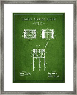 Bemis Snare Drum Patent Drawing From 1886 - Green Framed Print by Aged Pixel