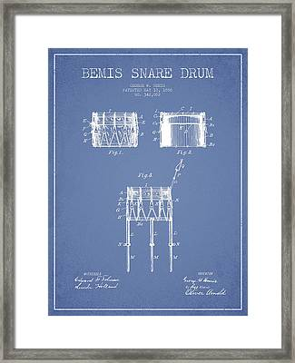 Bemis Snare Drum Patent Drawing From 1886 - Light Blue Framed Print