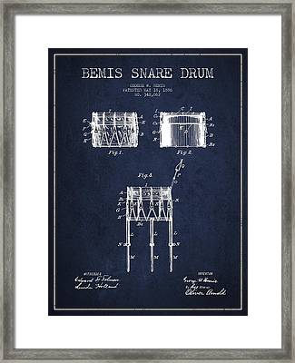 Bemis Snare Drum Patent Drawing From 1886 - Navy Blue Framed Print