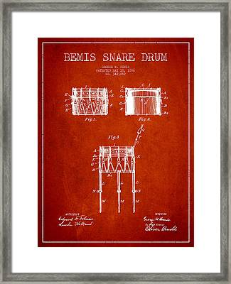 Bemis Snare Drum Patent Drawing From 1886 - Red Framed Print