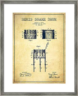 Bemis Snare Drum Patent Drawing From 1886 - Vintage Framed Print