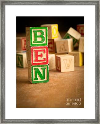 Ben - Alphabet Blocks Framed Print by Edward Fielding