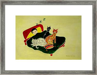 Ben And The Cats Framed Print by Veronica Rickard