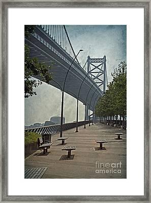 Ben Franklin Bridge And Pier Framed Print by Tom Gari Gallery-Three-Photography