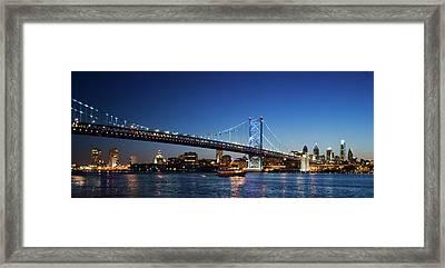 Ben Franklin Bridge At Dusk Framed Print