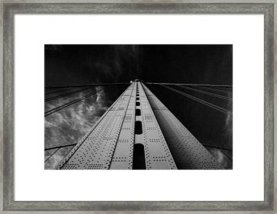 Ben Franklin Bridge B/w Framed Print by Jennifer Ancker
