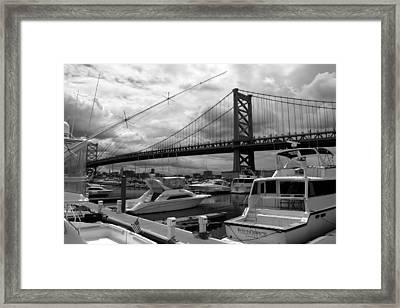 Framed Print featuring the photograph Ben Franklin Bridge by Dorin Adrian Berbier