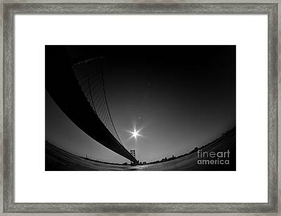 Ben Franklin Bridge Perspective Framed Print by Mark Ayzenberg