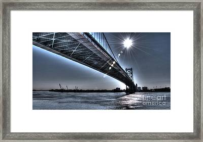 Ben Franklin Bridge Under The Sun Framed Print