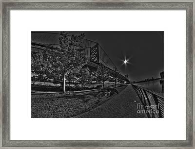 Ben Franklin Bridge Walk The Pier Framed Print by Mark Ayzenberg