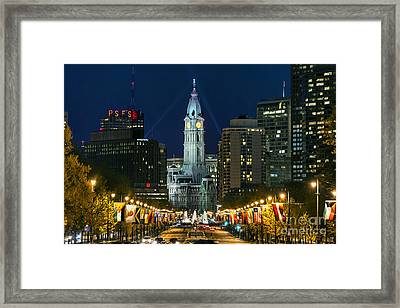 Ben Franklin Parkway And City Hall Framed Print