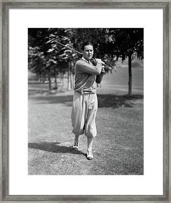 Ben Lyon Playing Golf Framed Print by Artist Unknown