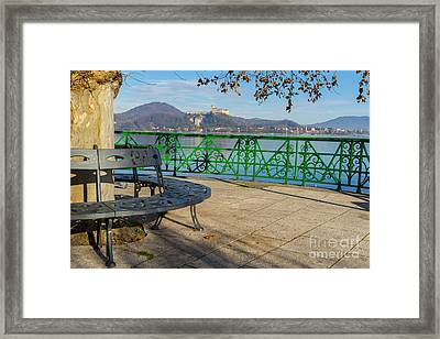 Bench And Castle Framed Print by Mats Silvan