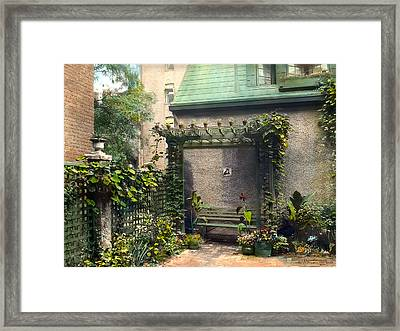 Bench And Plants Framed Print