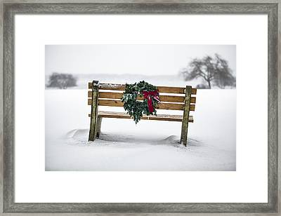 Bench And Wreath Framed Print by Eric Gendron