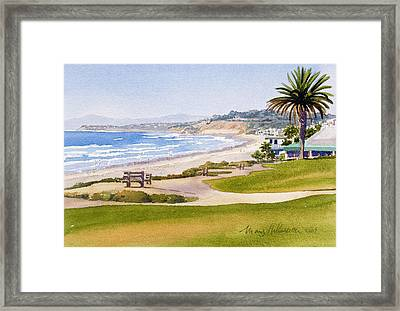 Bench At Powerhouse Beach Del Mar Framed Print by Mary Helmreich