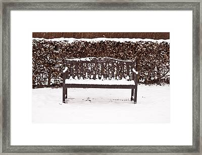 Bench In The Snow Framed Print by Tom Gowanlock
