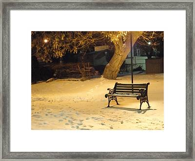 Bench In The Winter Park Framed Print by Guy Ricketts