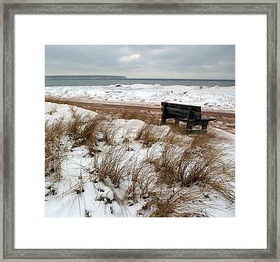 Bench In Winter Framed Print by A K Dayton