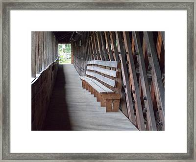Bench Inside A Covered Bridge Framed Print by Catherine Gagne