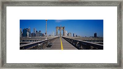 Bench On A Bridge, Brooklyn Bridge Framed Print