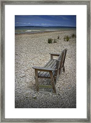 Bench On The Shore At Mackinaw City Framed Print by Randall Nyhof