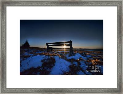 Bench On Top Of Mountain At Sunset Framed Print by Dan Friend