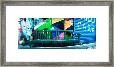 Bench Outside A Building, Williamsburg Framed Print by Panoramic Images