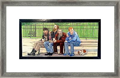 Bench People Series-the Guys  Framed Print by Betsy Frahm