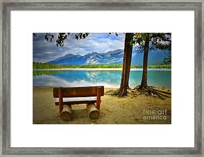 Bench View At Lake Edith Framed Print