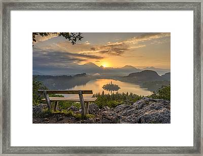 Bench With A View Framed Print by Robert Krajnc