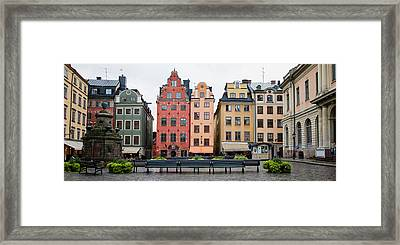 Benches At A Small Public Square Framed Print