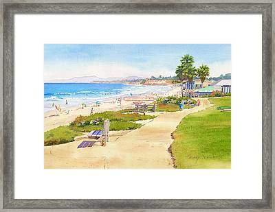 Benches At Powerhouse Beach Del Mar Framed Print by Mary Helmreich