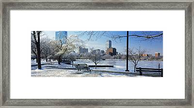 Benches In A Park, Charles River Park Framed Print