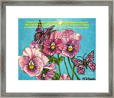 Bending Our Hearts To Receive The Light From The Son Framed Print by Kimberlee Baxter