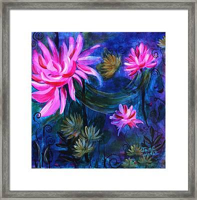Beneath Dark Lotus Waters Framed Print by Jaime Haney