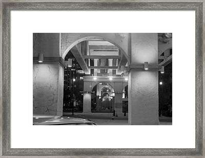 Framed Print featuring the photograph Beneath The Bridge At Night by Robert Hebert