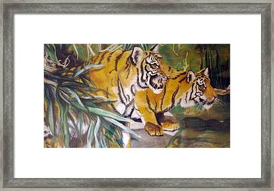 Bengal Tigers By The Waterside Framed Print by Ronald Osborne