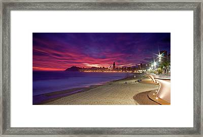 Benidorm At Sunset Framed Print by Michael Underhill