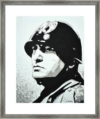 Benito Mussolini Framed Print by Victor Minca