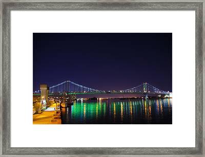 Benjamin Franklin Bridge At Night From Penn's Landing Framed Print