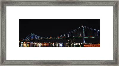 Benjamin Franklin Bridge At Night Panarama Framed Print